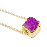 Square Druzy Geode Necklace