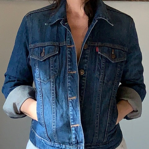 Reworked blue denim jacket