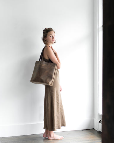 Shopper Tote in Dark espresso Brown leather