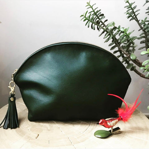Rainbow Clutch in Forest Green