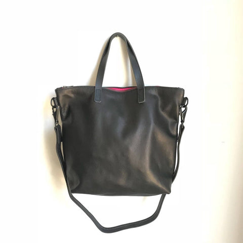 Zipper Tote in Black with Pink Zipper