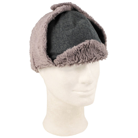 Swiss WW2 Style Winter Cap. Gray Wool with sheepskin liner - Used