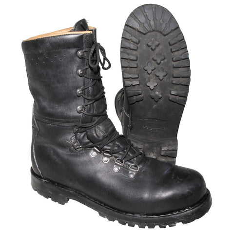 Austrian Bundesheer Black Leather Combat Boots- Used