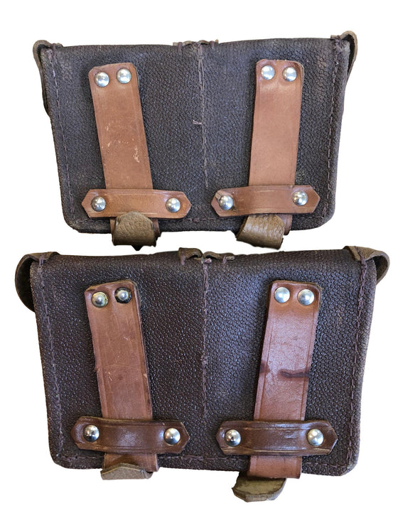 Soviet Mosin Nagant Two Celled Leather Ammo Pouches- Two Pack- Used