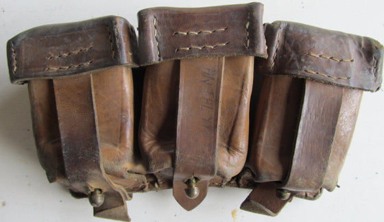 Leather Mauser Three-Pocket Ammo Pouch