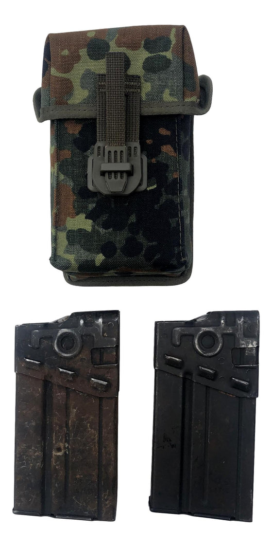 German H&K G3 Steel Magazines and Flecktarn Pouch-Used, Grade 2