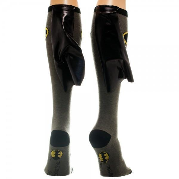 Bioworld - Batman Gray/Black Knee High Socks with Shiny Cape | Women's - Knock Your Socks Off