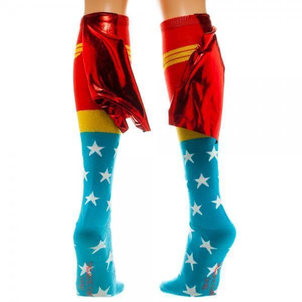 Bioworld - DC Comics: Wonder Woman Knee High Socks with Shiny Cape | Women's - Knock Your Socks Off