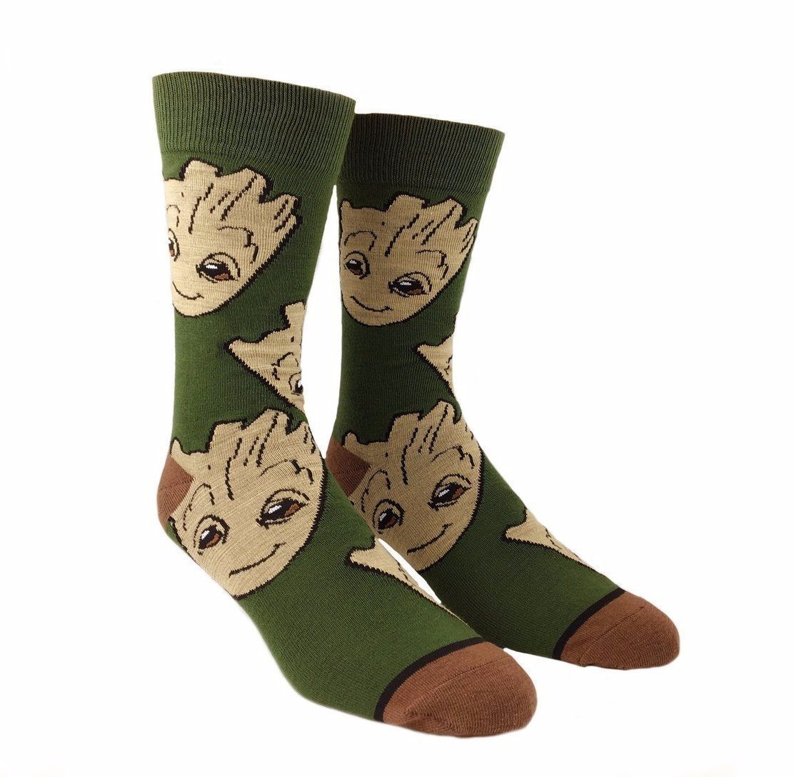 Bioworld - Guardians of the Galaxy: Groot Large All Over Print Crew Socks | Men's - Knock Your Socks Off