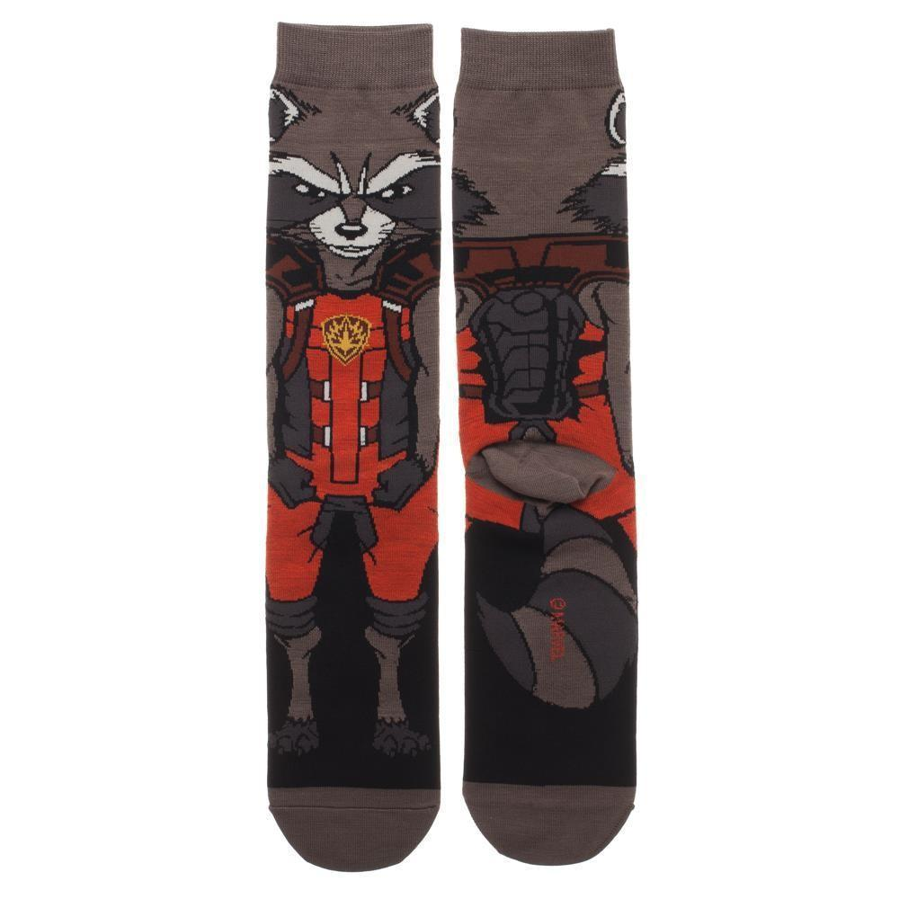 Bioworld - Guardians of the Galaxy: Rocket 360 Crew Socks | Men's - Knock Your Socks Off