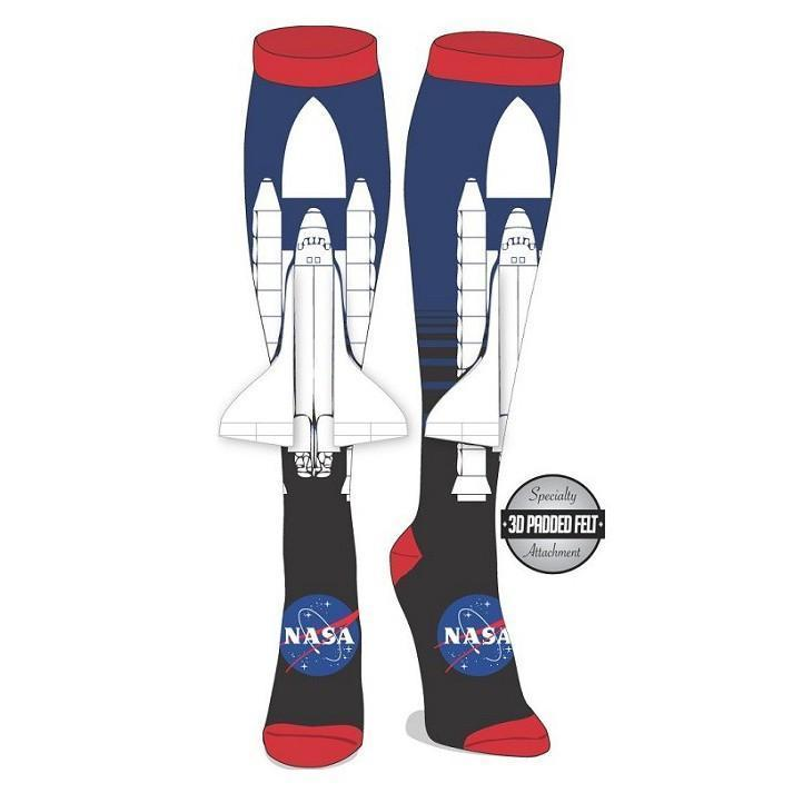 Bioworld - NASA Space Ship Knee High Socks with 3D Wings | Women's - Knock Your Socks Off