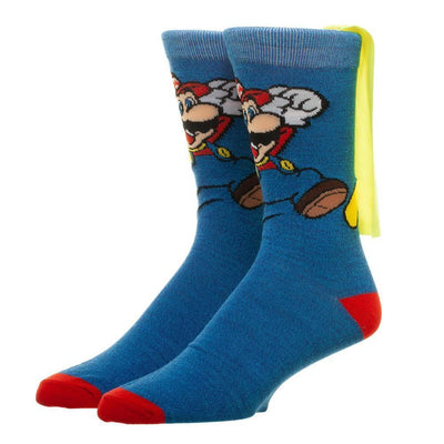 Bioworld - Nintendo: Super Mario Brothers Crew Socks with Cape | Men's - Knock Your Socks Off