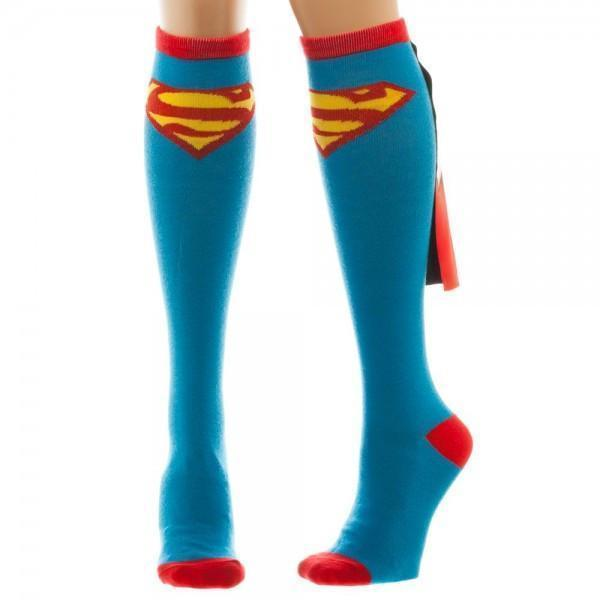 Bioworld - Superman Knee High Socks with Shiny Cape | Women's - Knock Your Socks Off