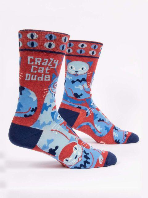 Blue Q - Crazy Cat Dude Crew Socks | Men's - Knock Your Socks Off