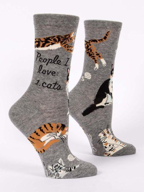 Blue Q - People I Love: Cats Crew Socks | Women's - Knock Your Socks Off