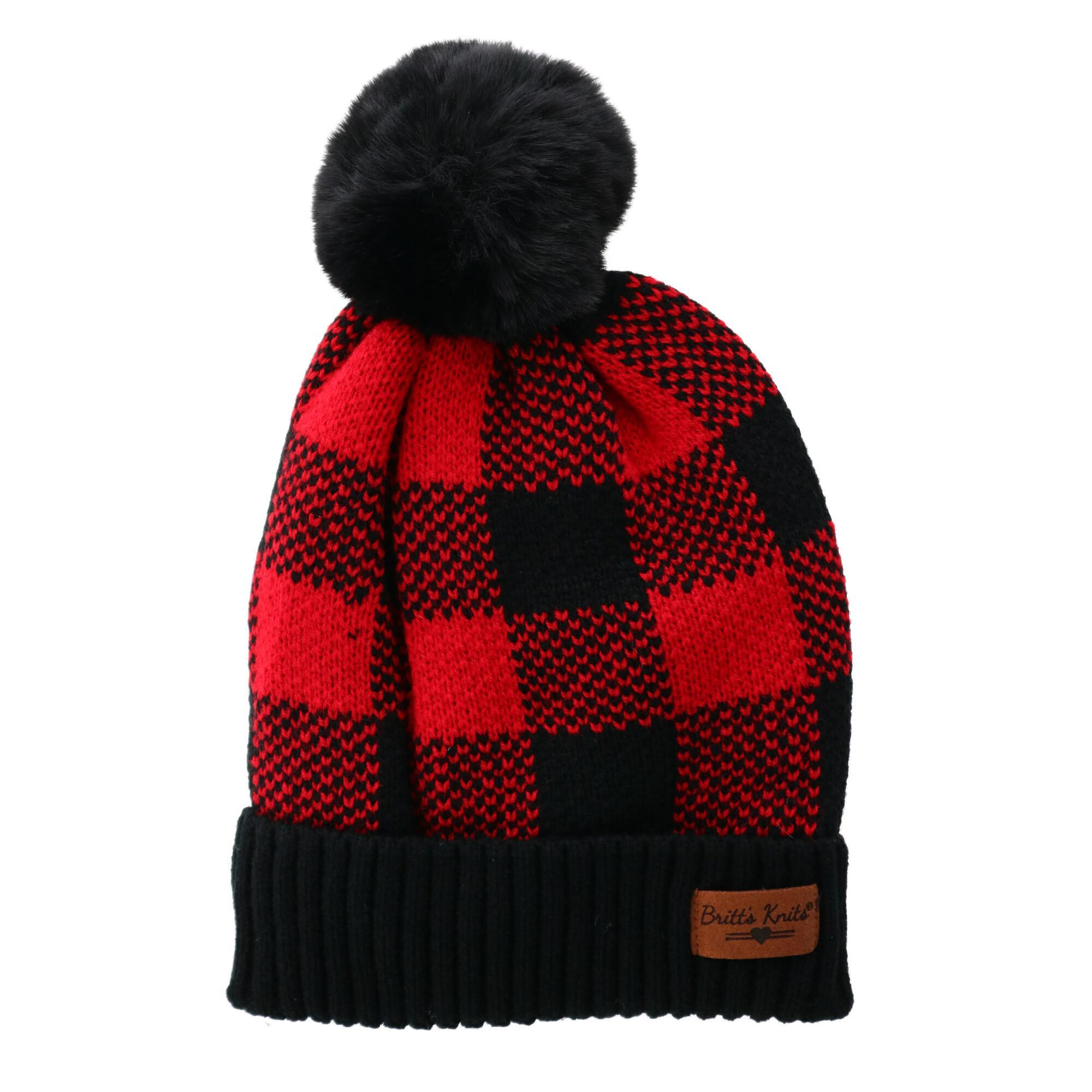 DM - Buffalo Plaid Knit Beanie with Pom Pom - Knock Your Socks Off