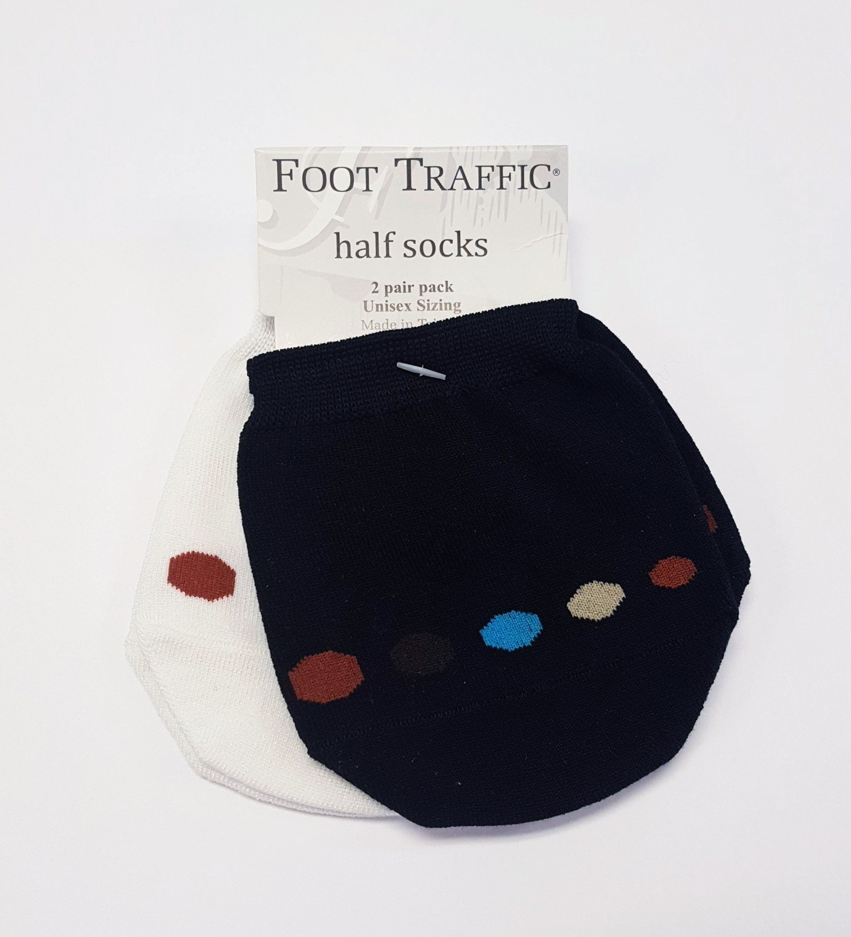 Foot Traffic - Cotton Half 2 Pack No Show Socks | Unisex - Knock Your Socks Off