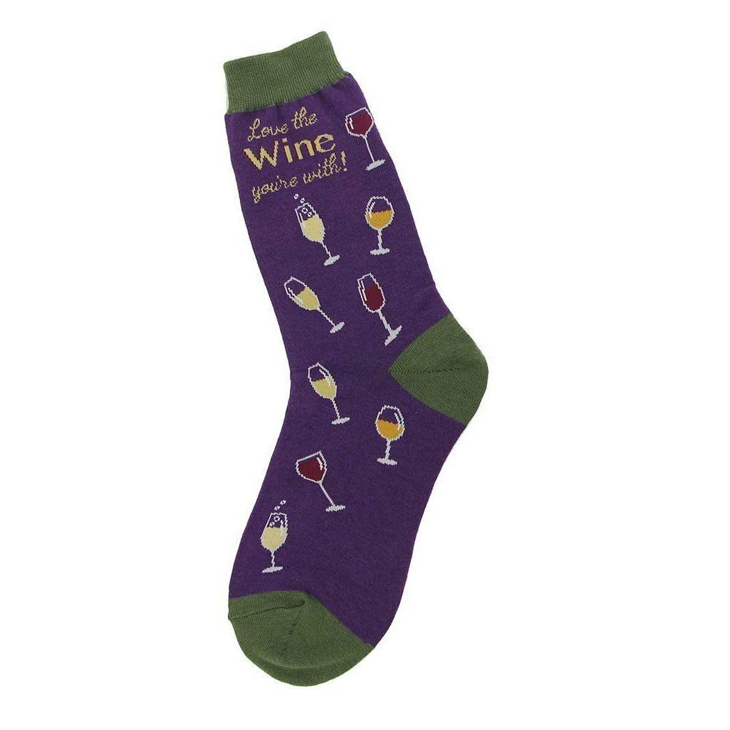Foot Traffic - Love the Wine You're With Crew Socks | Women's - Knock Your Socks Off
