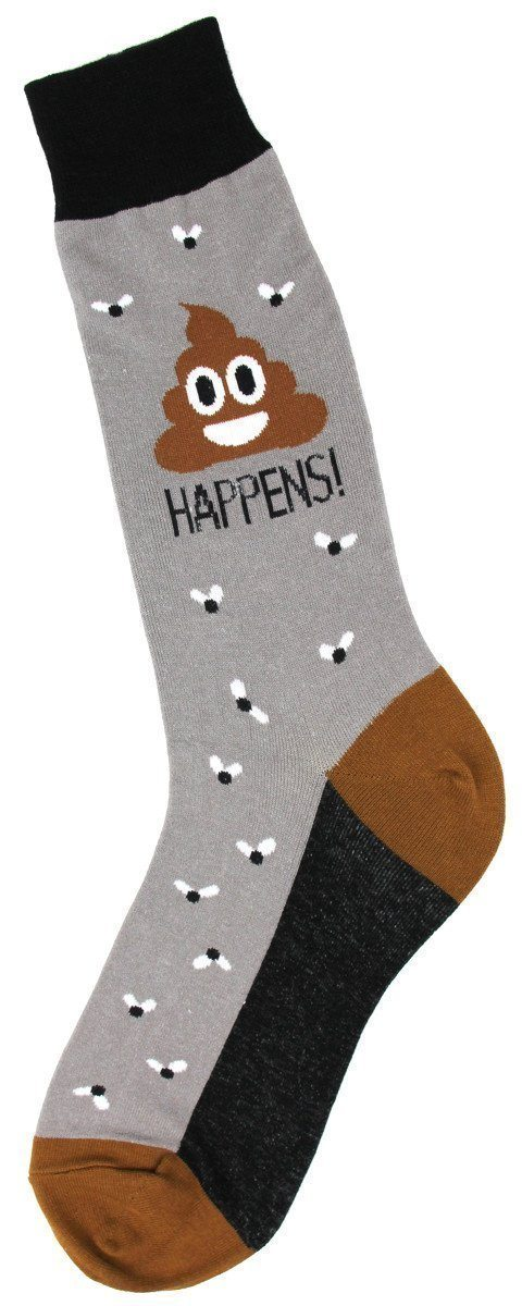 Foot Traffic - Poop Happens Crew Socks | Men's - Knock Your Socks Off