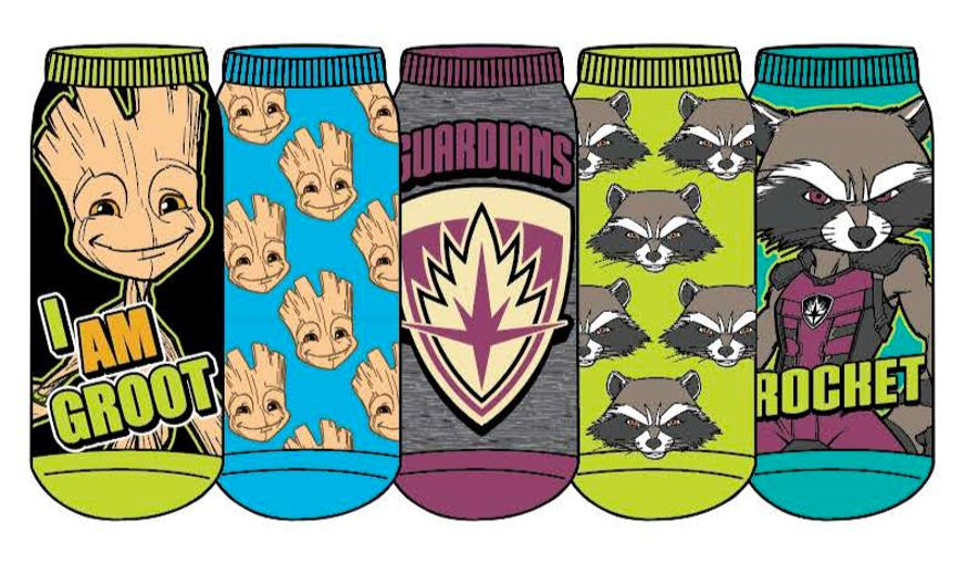 HYP - Guardians of The Galaxy: Rocket and Groot 5-pack Ankle Socks | Women's - Knock Your Socks Off