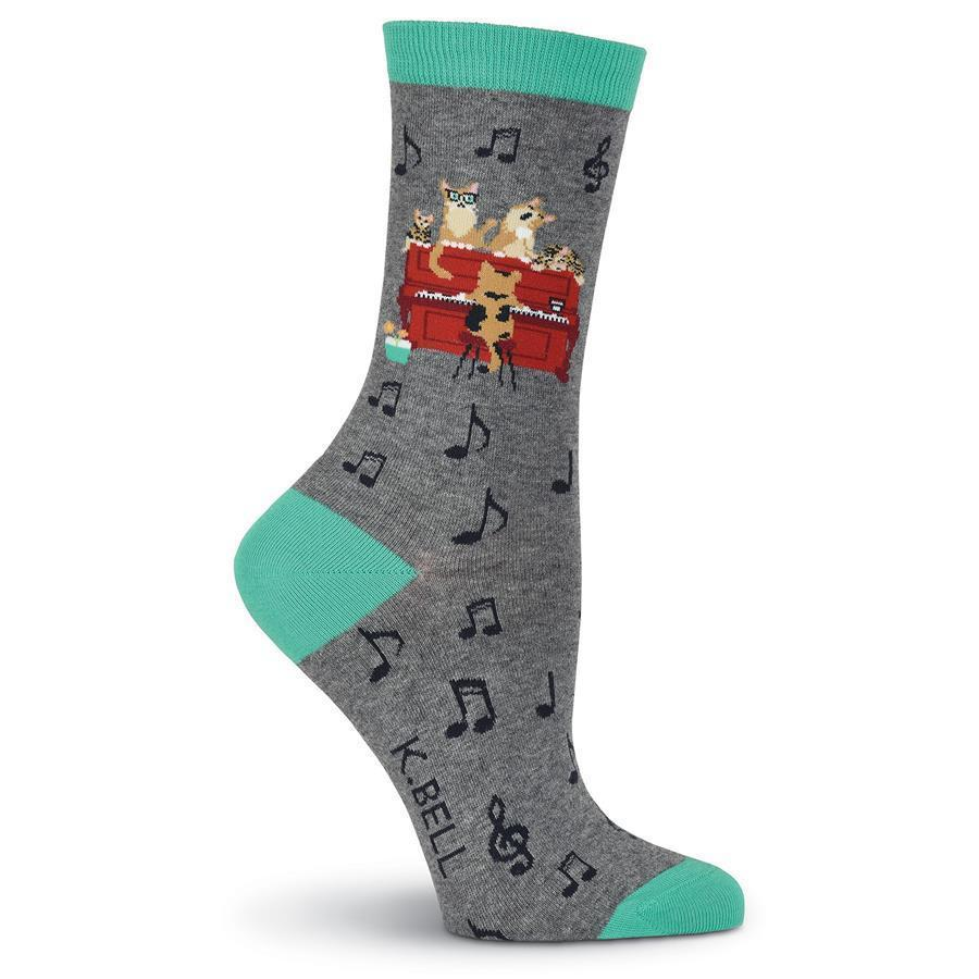 K. Bell - Piano Cat Crew Socks | Women's - Knock Your Socks Off