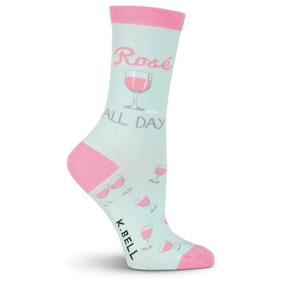 K. Bell - Rosé All Day Crew Socks | Women's - Knock Your Socks Off