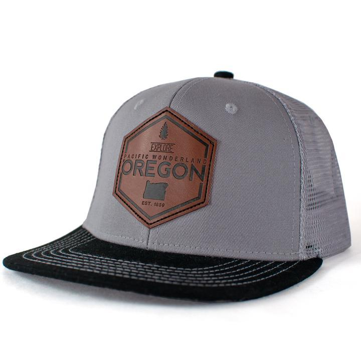 LBR - Explore Oregon Wool-lined Brim Flat Bill Trucker Hat - Knock Your Socks Off
