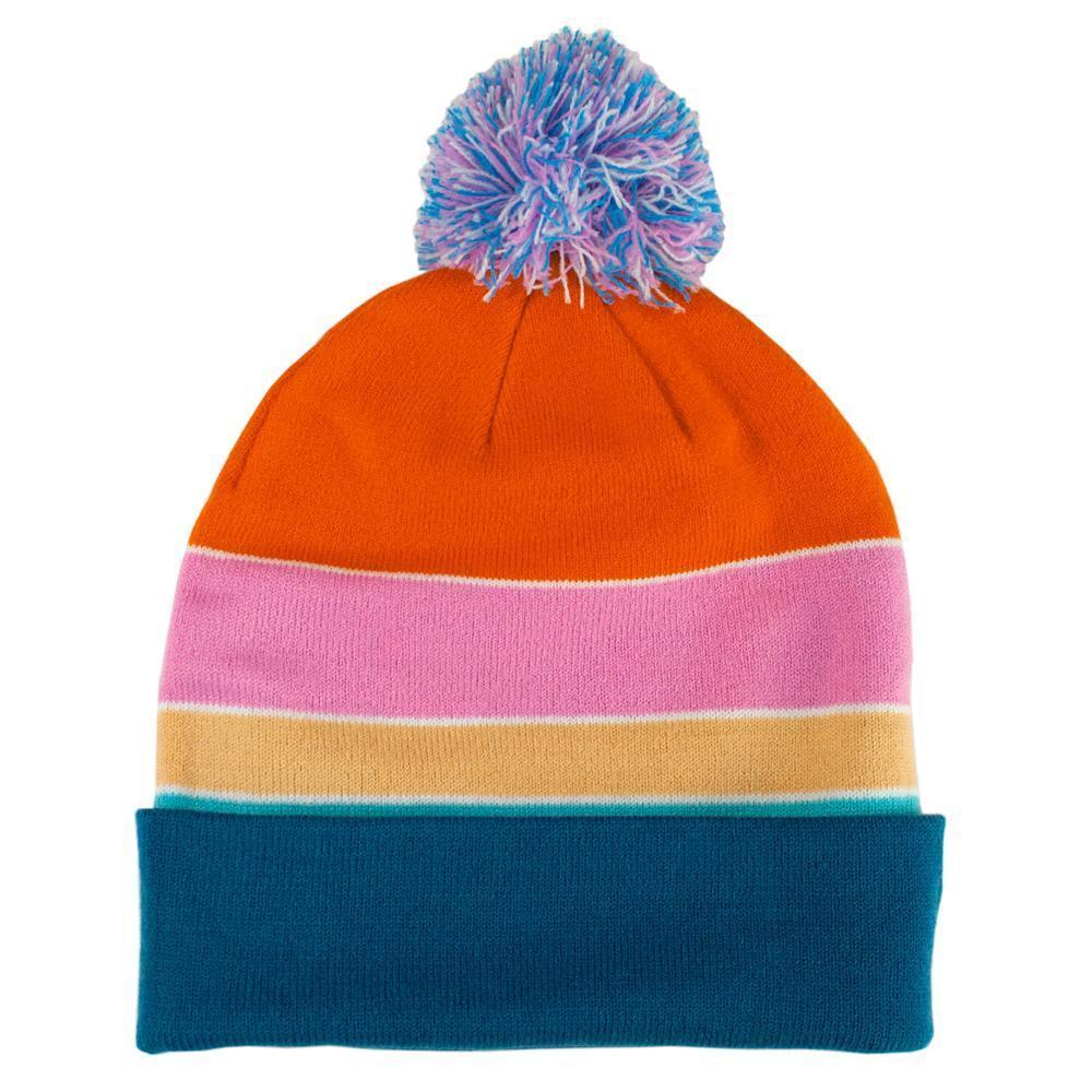 Little Bay Root - Oregon Coast Striped Jacquard Beanie with Pom Pom - Knock Your Socks Off