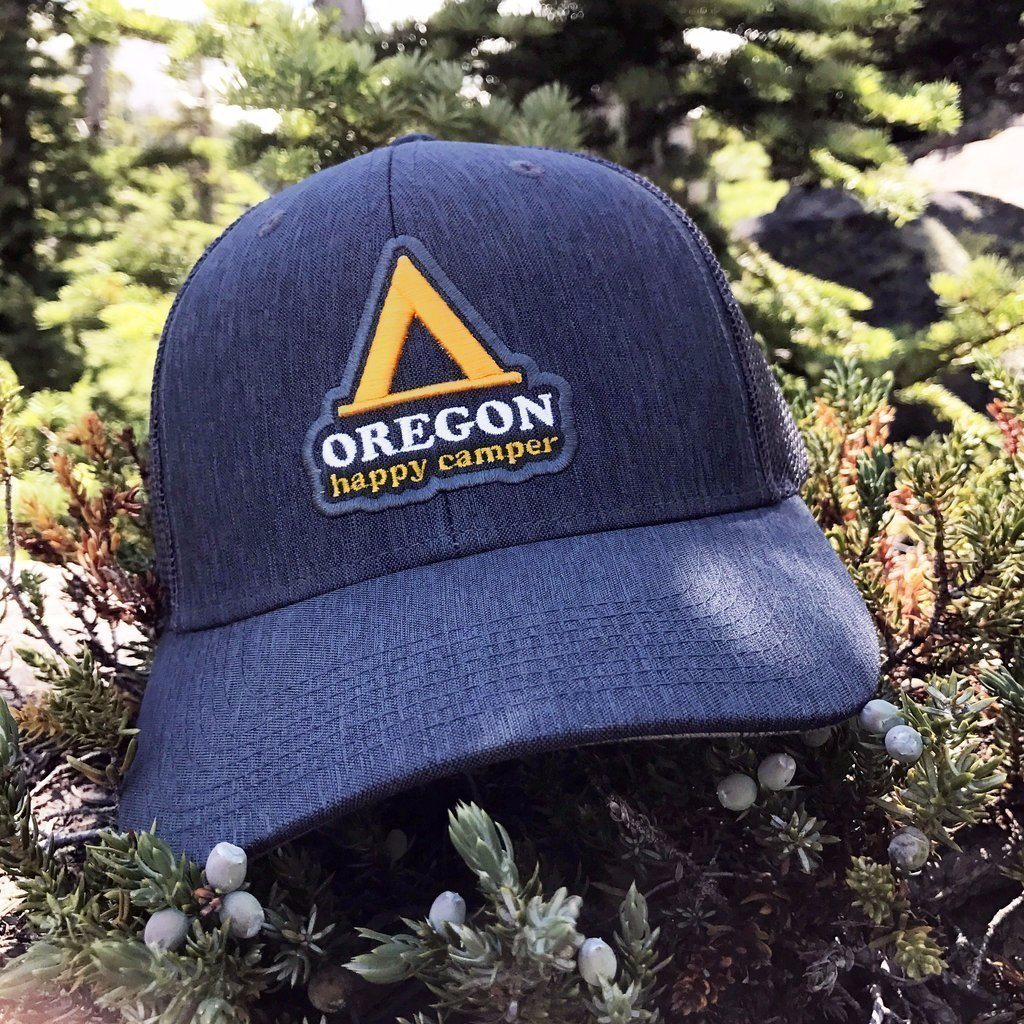 Little Bay Root - Oregon Happy Camper Curved Bill Trucker Hat - Knock Your Socks Off