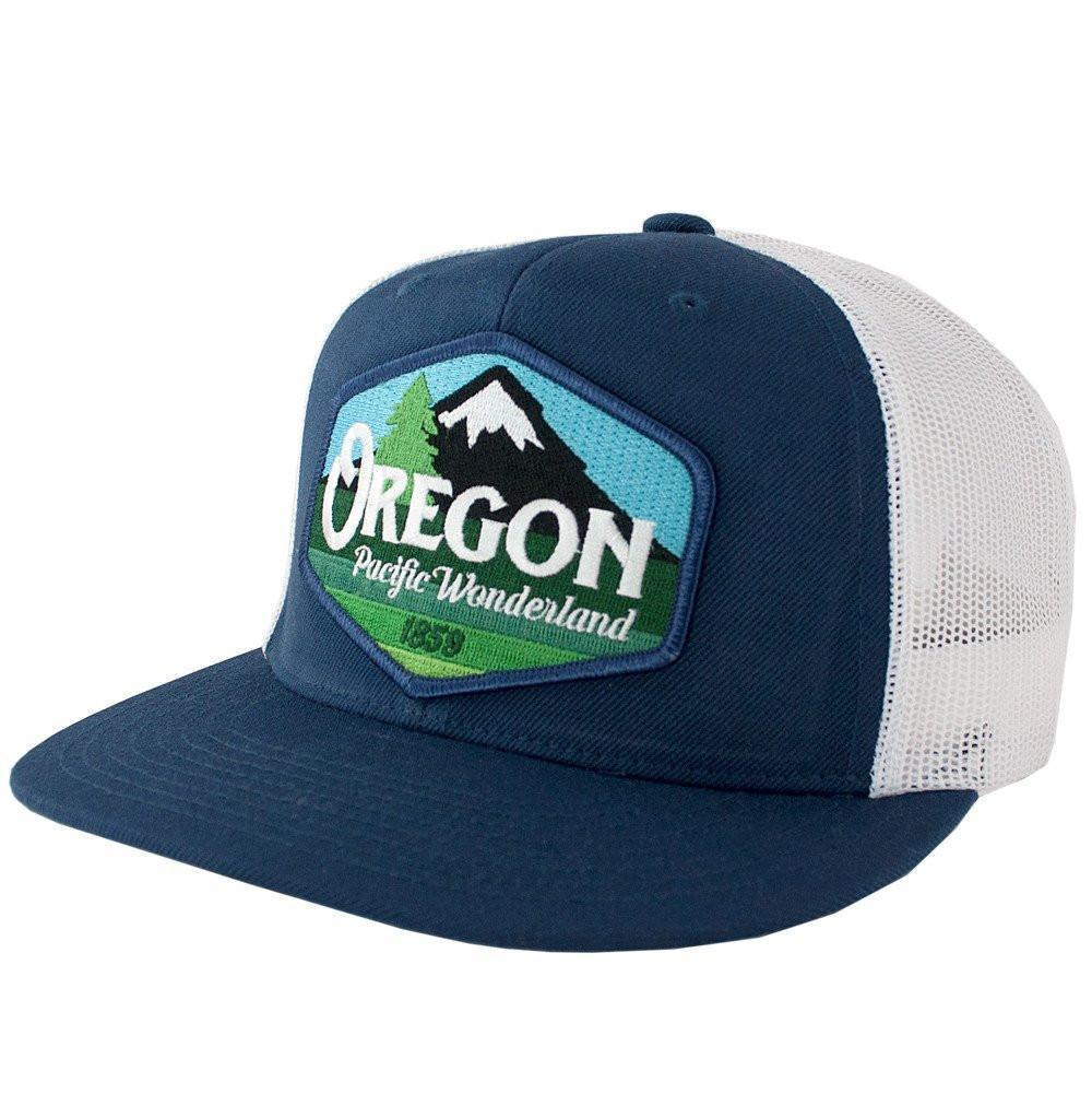 Little Bay Root - Oregon Pacific Wonderland Vintage Flat Bill Trucker Hat - Knock Your Socks Off