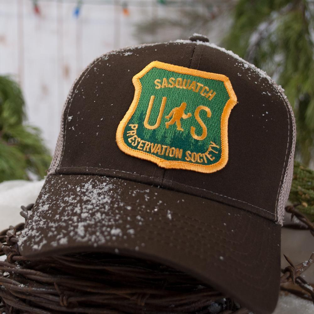 Little Bay Root - Sasquatch Preservation Society Curved Bill Trucker Hat - Knock Your Socks Off