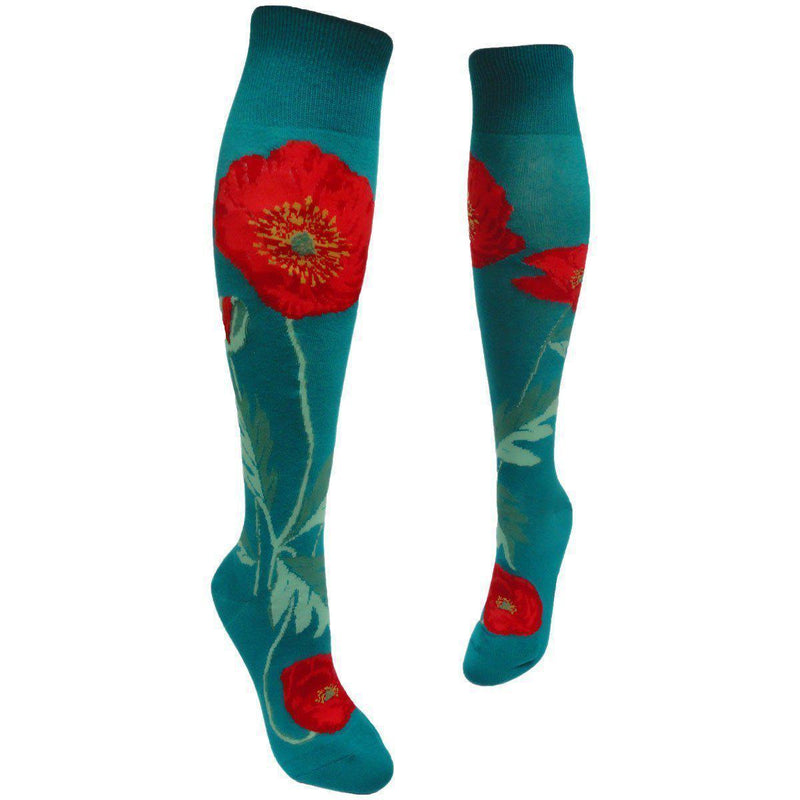 ModSock - Bold Poppies Knee High Socks | Women's - Knock Your Socks Off