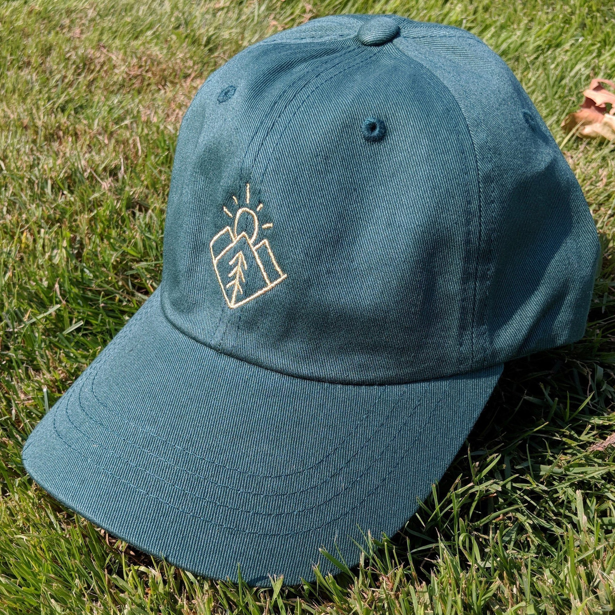 SNW - Minimal Mountains, Sun, Trees Baseball Cap - Knock Your Socks Off