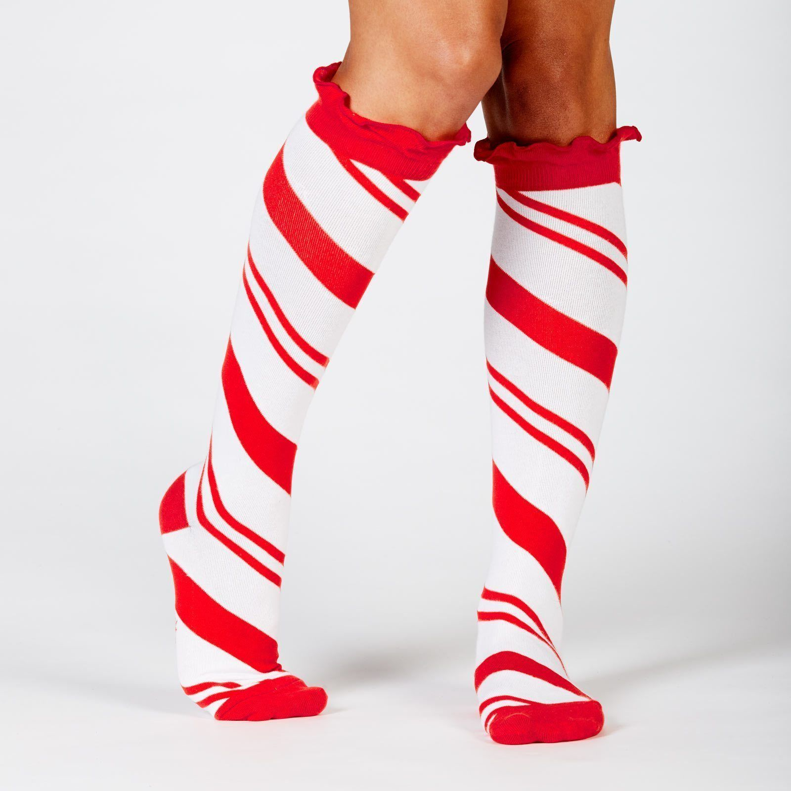 Sock It To Me - Candy Cane Knee High Socks | Women's - Knock Your Socks Off