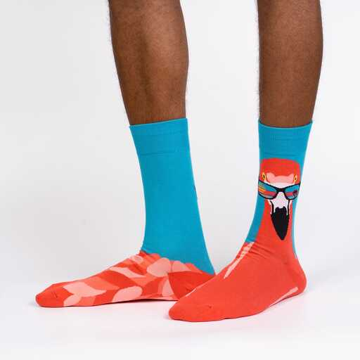 Sock It To Me - Ready to Flamingle Crew Socks | Men's - Knock Your Socks Off
