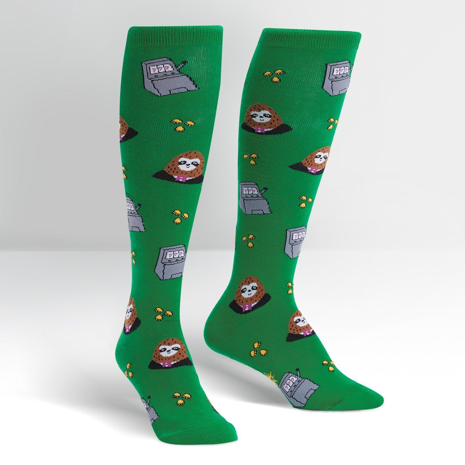 Sock It To Me - Sloth Machine Knee High Socks | Women's - Knock Your Socks Off