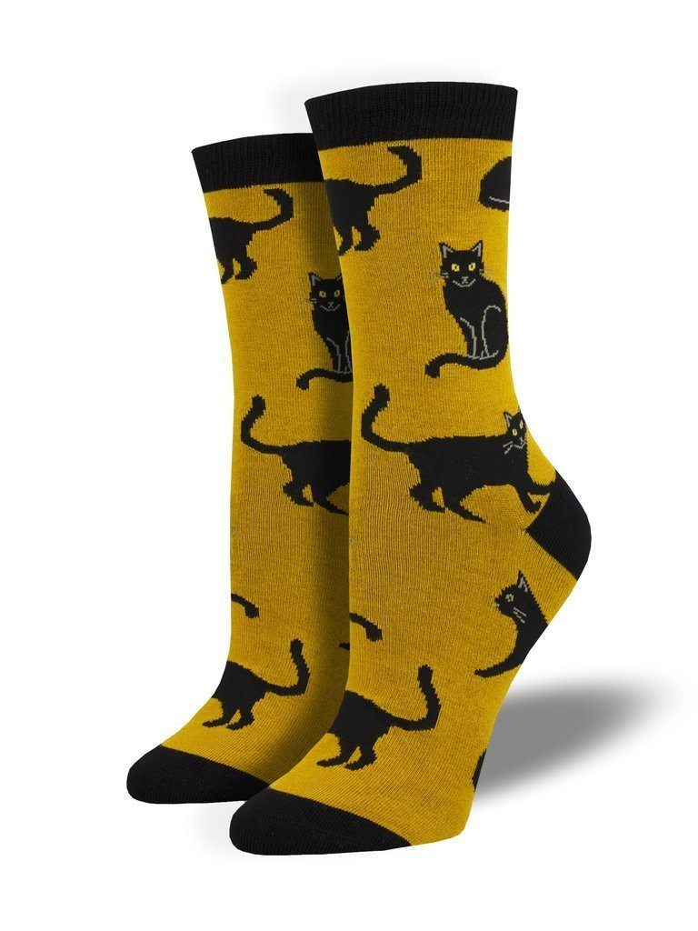 Socksmith - Bamboo Black Cat Crew Socks | Women's - Knock Your Socks Off