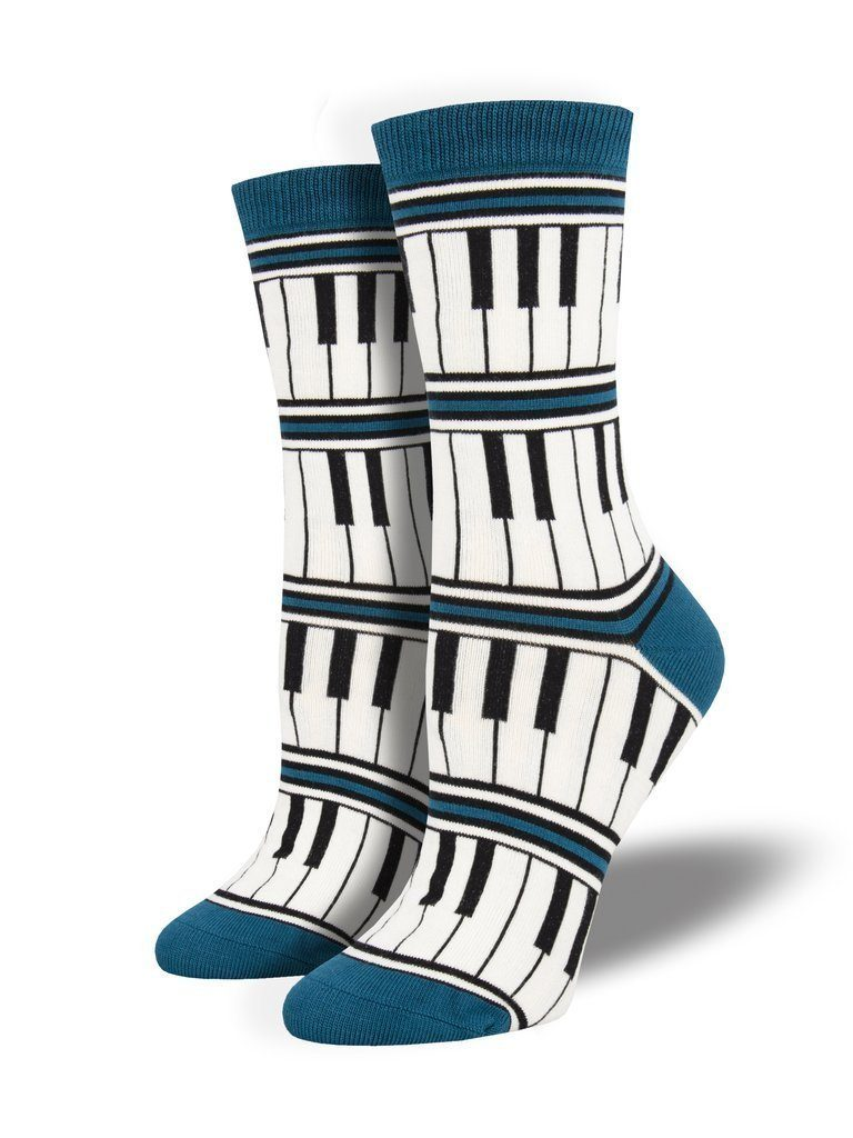 Socksmith - Bamboo Piano Stripe Crew Socks | Women's - Knock Your Socks Off