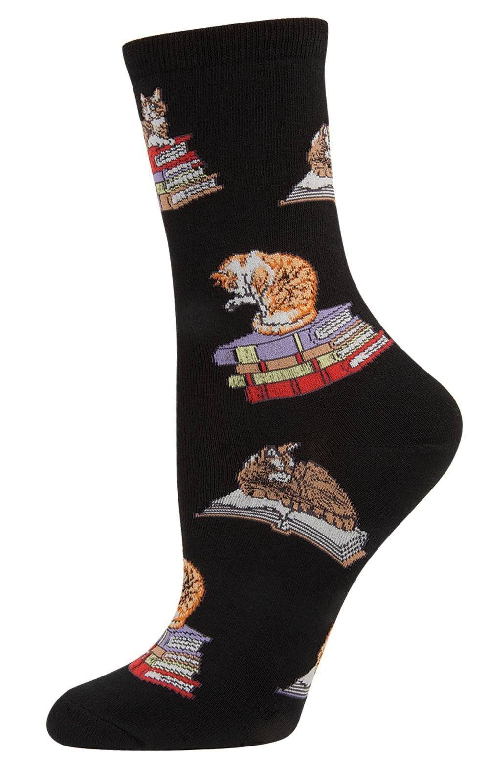 Socksmith - Cats On Books Crew Socks | Women's - Knock Your Socks Off