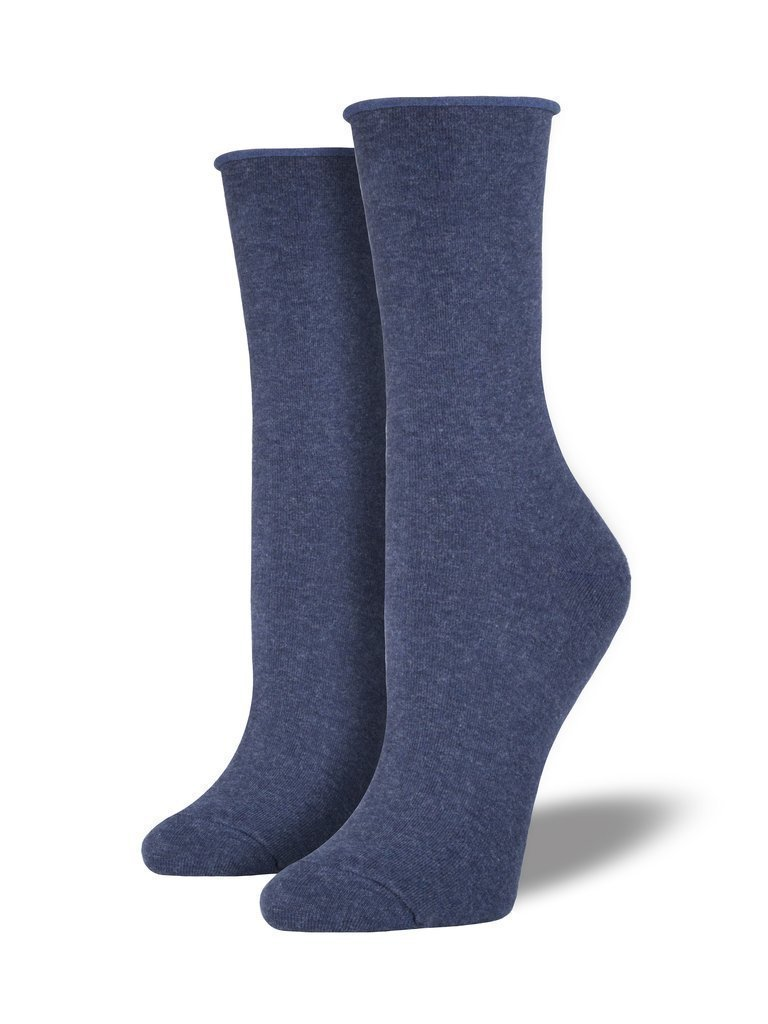Socksmith - Comfort Solid Roll Top Crew Socks | Women's - Knock Your Socks Off