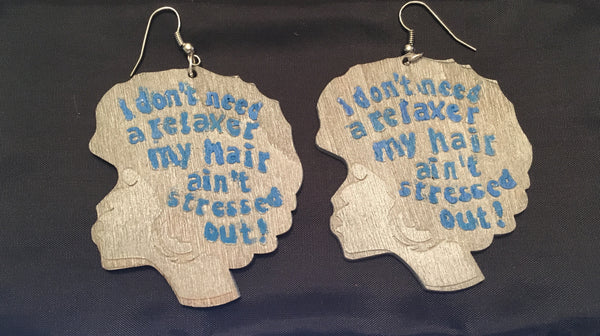 Stress Free Hair Wooden Earrings