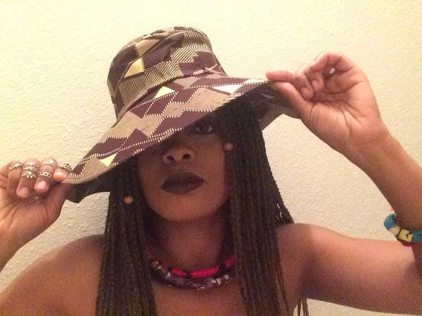 African Wax Print Goddess Hat - Natural Couture