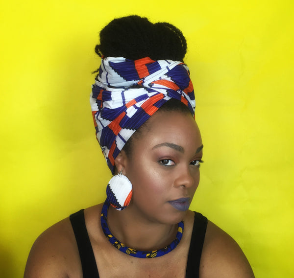 Queen Head Wrap and Earrings