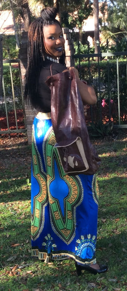 African Leather Backpack - Natural Couture