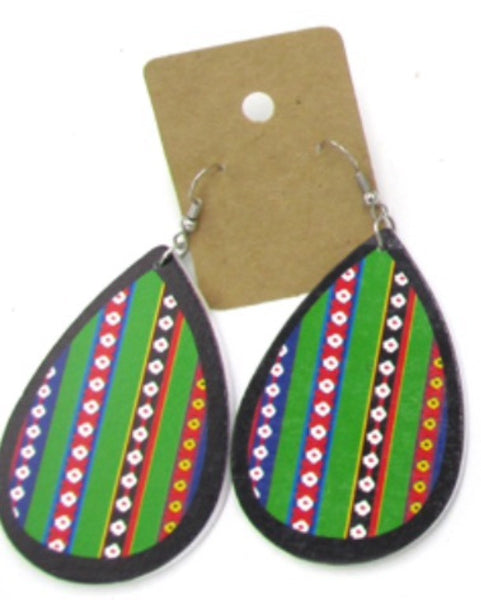 African Tribal Print Wooden Earrings