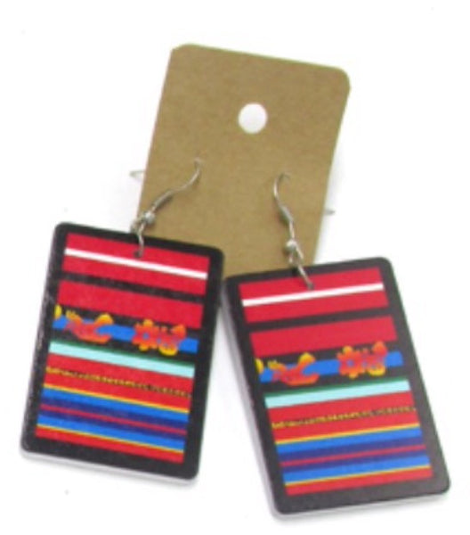 African Tribal Print Wooden Earrings - Natural Couture