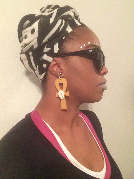 Golden Ankh with Cowrie Shell - Natural Couture