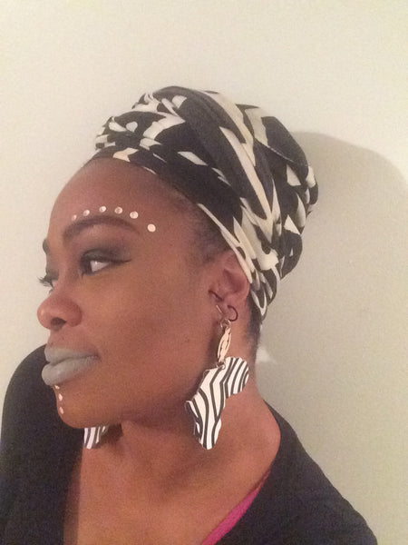 African Gye Nyame with Animal Print Wooden Earrings - Natural Couture