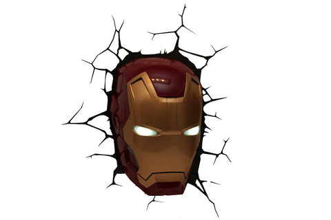 Marvel The Avengers 3D Nachtlicht Iron Man Head LED Lamp 3DLightFX battery operated