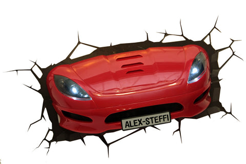 3D Sportscar Light (Red) Night and Wall Light 3DLightFX LED Lamp Sports Car battery operated